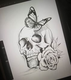 Skull Tattoo Black And Grey Roses 40 Ideas Art Drawings Sketches Simple, Dark Art Drawings, Pencil Art Drawings, Tattoo Sketches, Drawing Drawing, Drawing Ideas, Cool Sketches, Body Art Tattoos, Hand Tattoos