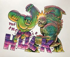 The Incredible Hulk vs Abomination - Dan Hipp Films Marvel, Marvel Art, Marvel Dc Comics, Marvel Characters, Marvel Heroes, Marvel Cinematic, Captain Marvel, Captain America, Amazing Spiderman
