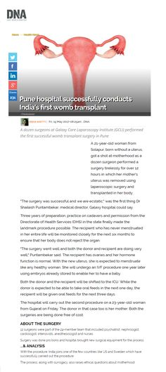 Pune hospital successfully conducts India's first womb transplant