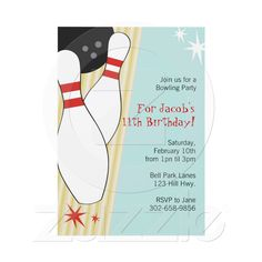 Bowling Themed Birthday Party Invitations from Zazzle.com