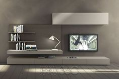 Sectional wall-mounted TV wall system I-modulArt - 277 - Presotto Industrie Mobili Living Room Tv Unit, Living Room Decor, Living Rooms, Tv Wall Design, House Design, Modern Tv Wall Units, Muebles Living, Tv Wall Decor, Wall Mounted Tv