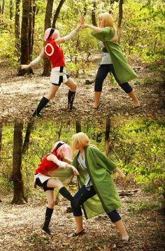 Awesome sakura and tsunade cosplay