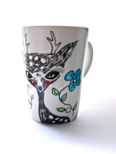 Hand drawn mug painted tea cup coffee mug ♥ Jess Quinn