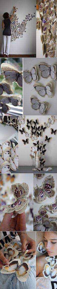 Декор из бабочек на стене / Бумага и карандаши (скрапбукинг, оригами, и т.д.) /