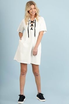 All Tied Up Off White Lace-Up Dress