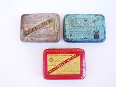 Trio of small French Medical Advertising Tins by FrenchMarketFinds, €13.00