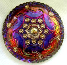 Czech Glass Button  XL Cobalt & Violet Mirror by ButtonOdyssey, $7.99