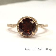 Round Garnet Engagement Ring Pave Diamond Wedding 14K Rose Gold 7mm Claw Prongs