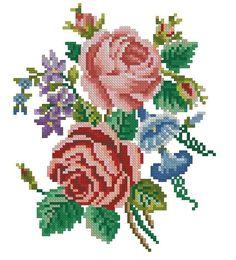 Roses and petunias vintage cross stitch pattern for por Smilylana