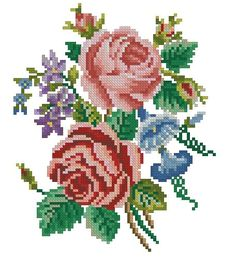 Roses and petunias vintage cross stitch pattern for cotton and silk