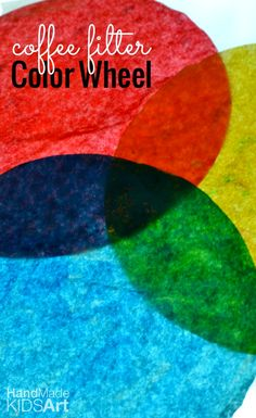 Make an easy coffee filter color wheel Color Wheel Lesson, Color Wheel Projects, Color Wheel Art, Art Projects, Kindergarten Art Lessons, Art Lessons Elementary, Preschool Colors, Preschool Art, Color Art Lessons