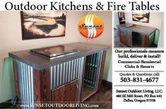 Beverage Center custom outdoor kitchen & fire pits Sunset Outdoor Living, LLC.