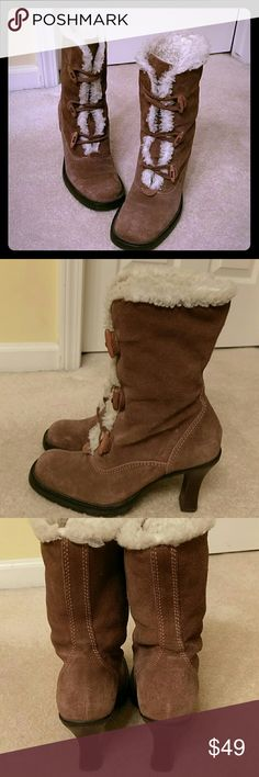 SM Booties 100% leather uppers made in Brazil. Distressed Swede. Super cute, and super warm. 4 inch heels. Fur in the inside of boot. Steve Madden Shoes Ankle Boots & Booties