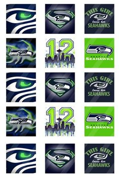 These designs are presented in 1 inch square , 4x6 sheet Seattle Seahawks NFL NFC champion 2014 football sport
