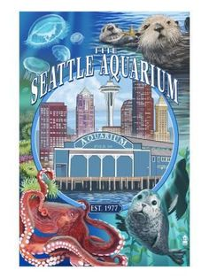 Seattle Aquarium - Seattle, WA Art Print by Lantern Press at Art.com