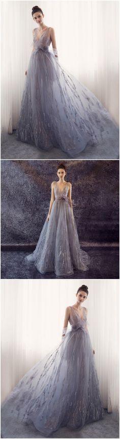A-LINE PROM DRESS V-NECK TULLE LONG PROM DRESSES/EVENING DRESS
