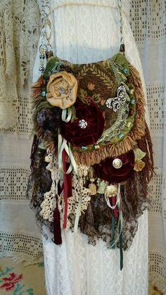 Handmade Gypsy Velvet Rose Lace Cross Body Bag Boho Hobo Hippie Purse tmyers #Handmade #MessengerCrossBody