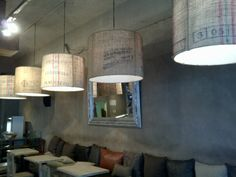 Recycled coffee bag lamps