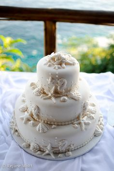 Beach Inspired Wedding Cake
