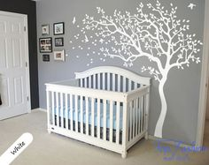 nursery decor wall stickers huge white tree wall decal nursery tree and birds wall art baby kids room wall sticker nature wall decor