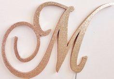Rose Gold Glitter Monogram Cake Topper - Any Letter A B C D E F G H I J K L M N O P Q R S T U V W X Y Z