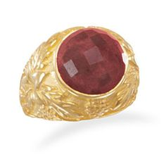 Ornate Gold Ring with Rough-Cut Ruby by Salerno's Jewelry Stores on Opensky