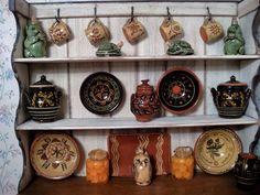 IGMA Artisan Barbara Vajnar's Cupboard filled with Jane Graber's Red Ware Tiny World, Miniature Kitchen, Tiny Treasures, Tea Sets, Kitchen Items, Bakeware, Cupboard, Stoneware, Kitchens