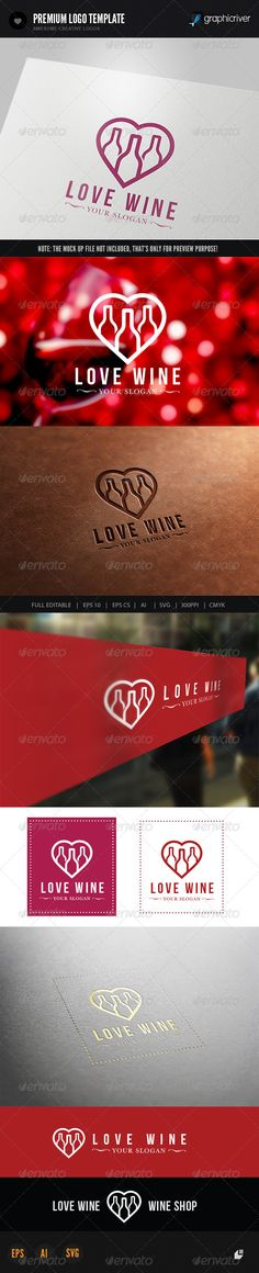 Love Wine Logo — Vector EPS #frame #food • Available here → https://graphicriver.net/item/love-wine-logo/6243266?ref=pxcr