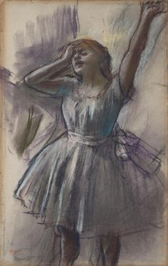"This drawing features many of Degas's idiosyncratic hallmarks: the size of the figure is too large for the sheet of paper, and the artist's preliminary lines remain visible, revealing his artistic process. | Degas, ""Dancer Stretching,"" © Kimbell Art Museum"