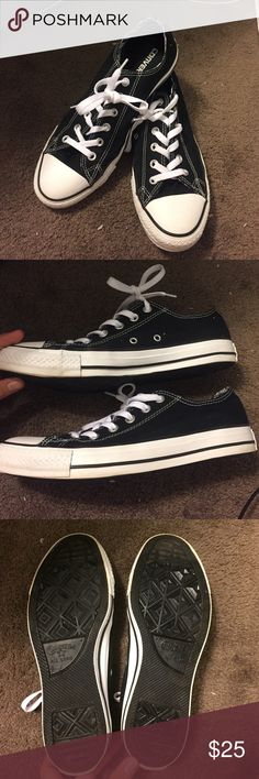 Black Converse Brand new low top conserve! Worn once. Has double tongue but if you wear it with the tongue up they look like regular converse. Leave me an offer! Converse Shoes Sneakers