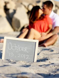 It would be really easy and cute to incorporate chalkboards in various ways! Chalkboard Photo Prop Wedding Engagement Sign by braggingbags. , via Etsy. Engagement Signs, Beach Engagement Photos, Engagement Couple, Engagement Shoots, Wedding Engagement, Wedding Pics, Wedding Shoot, Dream Wedding, Wedding Ideas