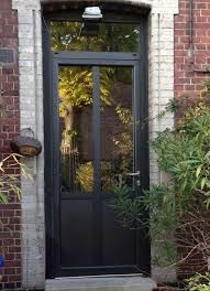 Flavie porte d 39 entr e aluminium classique mi vitr e for Upvc french doors homebase