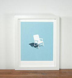 Outdoor Objects - Lawn Chair 8x10 Silkscreen Print by Brainstorm $20