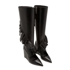 Knee-high ruffle leather boots