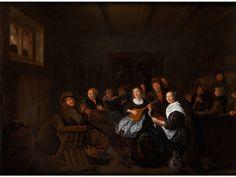 """MUSIZIERENDE GESELLSCHAFT Öl auf Eichenholz. 47 x 63,5 cm. Links auf der Stuhllehne signiert """"J Molenaer"""". Gerahmt. Der in Haarlem und später in..."""