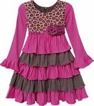 Isobella & Chloe Girls Fuchsia Pink / Leopard Print Harmony Ruffle Empire Waist Dress