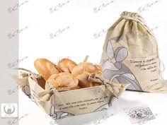 Cestino portapane e sacchetto di cotone