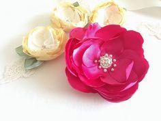 SALE Hot Pink Rose Satin Flower Brooch Pin Bridal by amuandpri, $29.00