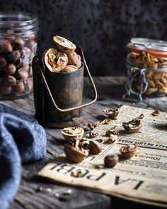 Rustic look with walnuts, hazelnuts and other kinds of nuts~they look so delicious and inviting!