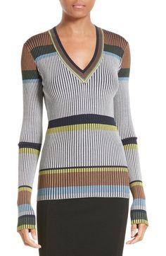 Diane von Furstenberg Stripe V-Neck Sweater   Nordstrom