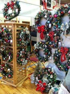 display boards for wreaths | Craft show wreath display from Sixty Fifty One Designs.