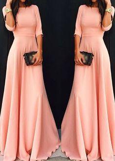 Gorgeous Pink Long Sleeve Maxi Dress