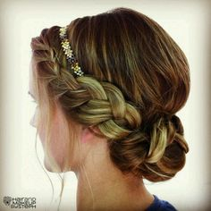 headband in a braid updo