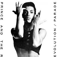 """A black a white photo of a man with a black tank top and his arms posed in a theatrical way with the words """"PRINCE AND THE REVOLUTION/ PARADE"""""""