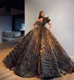 Embellished Dazzling Bronze Ball gown - ‪No low key vibes here! This is All you need to make an everlasting statement. Get my look at Slay - Debut Dresses, Glam Dresses, Couture Dresses, Fashion Dresses, Pretty Prom Dresses, Stunning Dresses, Beautiful Gowns, Elegant Dresses, Luxury Dress