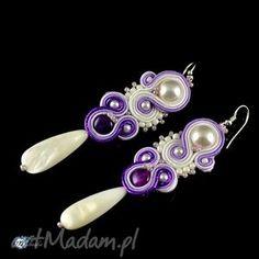 fioletowo-białe kolczyki - sutasz, ślub, soutache, kolczyki