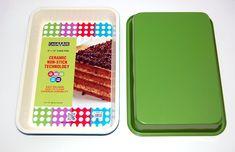 casaWare Ceramic Coated NonStick 9 X 13 x 2-Inch Rectangular Cake Pan (Cream/Green)