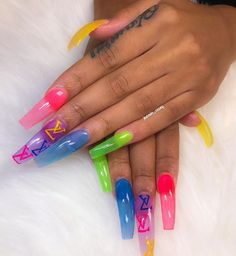 Acrylic Nails For Teens Ideas, Acrylic Nails Colors, Nail Designs Summer, summer nails Aycrlic Nails, Dope Nails, Coffin Nails, Pink Coffin, Gorgeous Nails, Pretty Nails, Acryl Nails, Jelly Nails, Best Acrylic Nails