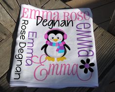 Personalized Penguin Baby Blanket - Girl Penguin Receiving Blanket - Custom Name Baby Blanket - Newborn Swaddling Blanket - Baby Photo Prop Soft Baby Blankets, Receiving Blankets, Swaddle Blanket, Penguin Baby, Baby Penguins, Personalized Baby Blankets, Knot Headband, Different Fabrics