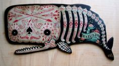 """Whaleless"" (hand painted) Dia De Los Muertos inspired~Artwork © Chris Bonobo"